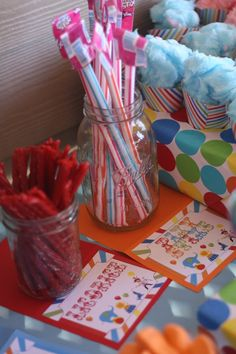 Carnival Circus Birthday; candy sticks and cotton candy in a cup!