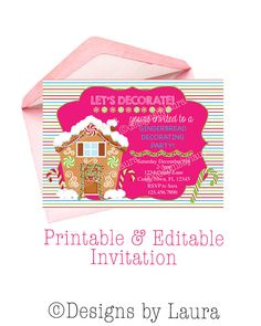 Christmas Party Invitation-Gingerbread by DesignsbyLauraonEtsy