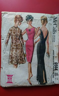 "B34"" Dramatic 60s sheath or evening dress vee neckline at back CUT pretty glam 1960s style think velveteen, silk linen crepe, satin, brocade by StarletPatterns on Etsy"