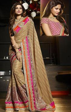 Magical Creamish Brown Designer Wedding Saree