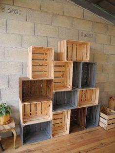 Wooden crates by Peiot Wooden Crates, Wooden Boxes, Palette Coffee Tables, Palette Table, Palette Deco, Regal Bad, Diy Home Decor, Room Decor, Pallet Furniture