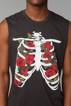 Junk Food Rib Cage Flowers Muscle Tee $14.99