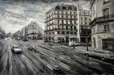 Dramatically Blurred Oil Paintings by Valerio DOspina urban painting black and white