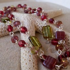 Raspberry and Green Necklace by mompotter on Etsy, $29.00