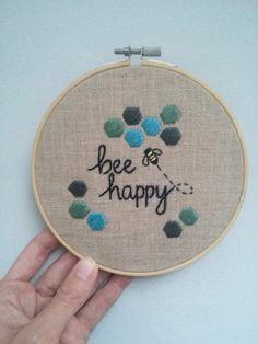 Bee Happy Embroidered Linen Hoop