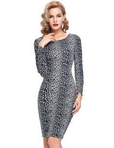 Spring Autumn Women Office Dress wear to work Sexy Tunic Casual Party Bodycon Club Clubwear Pencil Leopard Print Sheath Dress