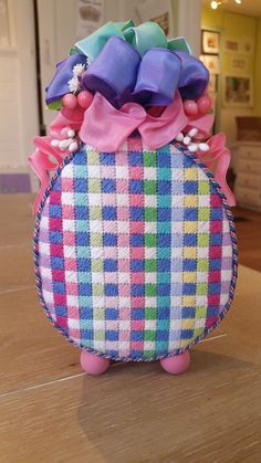 Linda's beautiful Easter Egg finished by Marlene's Custom Pillows.