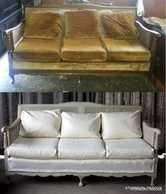 Before and after Cane and Mahogany sofa. Quilted cotton upholstery, white cotton lace trim and silver upholstry tacks.