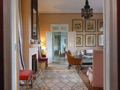Luminous, exquisite rosy peachy pink living room in Tangier from Ben Pentreath's blog