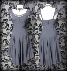 Vintage Grey Rose Lace Striped Asymmetric Dress 8 10 Steampunk Victorian Cosplay | THE WILTED ROSE GARDEN
