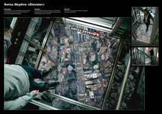 Advertising Agency: Casanova Pendrill, NY, USA  Swiss Skydive – Elevator - ambient advertisement
