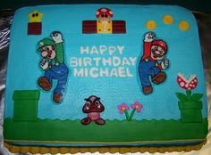 Super Mario Cake This is an cake decorated with BC and MMF. Mario and Luigi are FBCTs, I used MMF to create the birthday message and. Mario Birthday Cake, Leo Birthday, Super Mario Birthday, Boy Birthday Parties, Birthday Message, Birthday Ideas, Birthday Cakes, Bolo Do Mario, Super Mario Cake