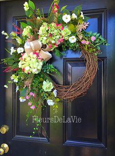 Summer Door Wreath, Front door wreath, Grapevine Door Wreath, Hydrangea Wreath, House Warming Gift, Summer Wreath