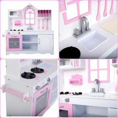 """Fun-size kitchen perfect for any space. Includes a accessory set that allows hours of play. Stylish kitchen with """"window"""" for loads of imaginative play. Kitchen Sets For Kids, Play Kitchen Sets, Pretend Play Kitchen, Stylish Kitchen, Cooking Food, Imaginative Play, No Cook Meals, Special Gifts, Kids Toys"""