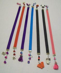 7 Handmade Ribbon Bookmarks with Beads and Charms in Assorted Colors