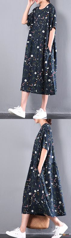US$23.99+Free shipping. Size: L~5XL. Women Dresses, Long Dresses, Dresses Casual, Dresses for Teens, Summer Dresses, Summer Outfits, Retro Fashion. Home or out, love this retro summer dress. Color:Navy.