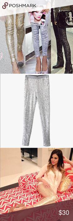 Gorgeous Silver Sequin Leggings Super Fashion and gorgeous leggings. Silver color, the last one available. 😍 New wihtout tags. Pants Leggings