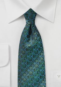 Pine Green and Blue Designer Silk Tie | Bows-N-Ties.com