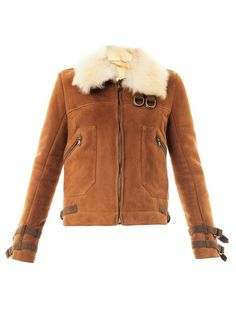 Veronica Beard Umber suede shearling biker jacket on shopstyle.com