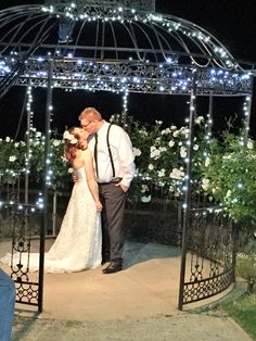 Photo under the gazebo at night where many couples choose to share their first dance on a warm evening at Yarra Ranges Estate. Winery Wedding | Yarra Valley Wedding | Dandenong Ranges Wedding