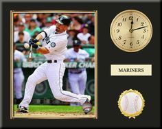 One 8 x 10 inch Seattle Mariners photo of Dustin Ackley inserted in a gold slide-in frame and mounted on a 12 x 15 inch solid black finish plaque.  Also features a 3-inch Arabian gold-faced clock, a customizable nameplate* and a 2-inch baseball medallion with a gold base.  $59.99 @ ArtandMore.com