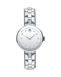 Movado Sapphire Stainless Steel Watch with Diamonds, 28mm   Bloomingdale's