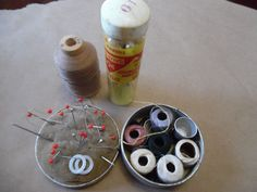 Vintage lot of Sewing items Pincushion Cone Top Corticelli Cotton Thread pins