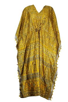 49eadc2d47b5 Mogul Interior Womens Yellow Kaftan Maxi Dress Drawstring Beachwear  Bohemian Beach Wear OneSize at Amazon Women's