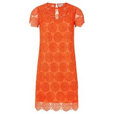 Related Amelia Dress (€140) ❤ liked on Polyvore featuring dresses, scalloped hem dress, orange dress, scalloped dress, crochet lace dress and sleeve dress