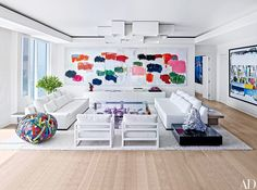 White interiors focus on a color-filled modern art collection. Large-scale Günther Förg painting, work by Alexandre Farto at right, sculpture by Michele Oka Doner on the side table, colorful ball sculpture by Beat Zoderer // Florida Living Room Living Room White, Living Room Modern, Living Room Designs, Living Rooms, Living Area, White Rooms, White Walls, Contemporary Interior Design, Contemporary Bedroom