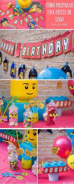 lego party, fiesta lego, imprimibles lego gratis, lego free printable, fiesta infantil de lego, kids party. Fiesta de Lego para niños Lego Movie Birthday, 6th Birthday Parties, Lego Printable Free, Deco Lego, Lego Party Decorations, Lego Friends Party, Ninjago Party, Lego Ninjago, Lego Candy