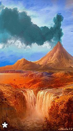 GIF Volcano and water Images Gif, Gif Pictures, Moving Pictures, Nature Pictures, Beautiful Gif, Beautiful World, Beautiful Places, Beautiful Pictures, Image Nature