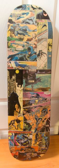 Batman custom comic collage skateboard deck by ComicRecycler, $75.00