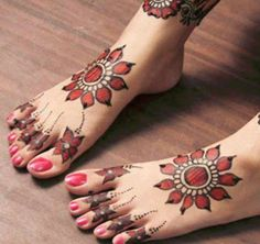 Red Coloured Foot Mehendi Design 25 Fabulous Foot Mehndi Designs for Your Next Event