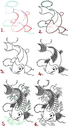 Koi Fish Tattoo Drawings | koi fish drawing steps by wenwecollide digital art drawings paintings ...