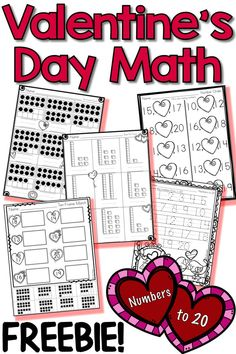 Students will love these fun FREE Valentine's Day math activities and printables. These worksheets are great for lessons in kindergarten and can be done independently or in a skills groups. Check them out! Valentinstag Party, Kindergarten Math Activities, Math Games, Kindergarten Freebies, Montessori Math, Kindergarten Class, Valentines Day Activities, Holiday Activities, Baby Mobile