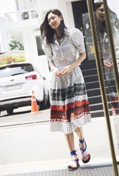 Jun ji hyun for Suecommabonnie 2017 Jun Ji Hyun, Kim Woo Bin, Celebs, Celebrities, Korean Actors, Casual Looks, Actors & Actresses, Short Sleeve Dresses, Female