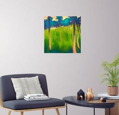 The orchard in les Baronnies by John O'Grady - Original landscape painting, Spring in a Provencal orchard with green grasses and tall trees - Home decor idea #green #blue #contemporaryart #contemporarydecor #buyart #modernart