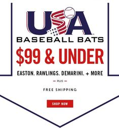 Shop for the brand new USA baseball bats with a budget of $100 and under. JustBats offers free shipping every day with 24/7 customer service. Don't forget, we're here from click to hit! Baseball Invitations, Sports Mom, Budgeting, The 100, Baseball Bats, Usa, Softball, Customer Service, Don't Forget