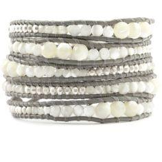Chan Luu - White Mother of Pearl Graduated Wrap Bracelet on Iceberg Leather, $230.00 (http://www.chanluu.com/wrap-bracelets/white-mother-of-pearl-graduated-wrap-bracelet-on-iceberg-leather/)