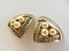 1960, earrings from Florence, original design with crystals and pearls-textura platinum color-art.866/2-