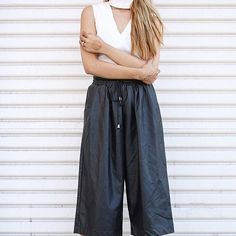 Contemporary faux leather drawstring culottes from @forever21  #f21xme #forever21 #forever21contest