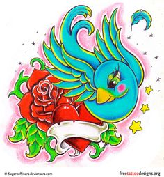 Swallow, heart and rose tattoo design
