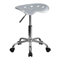Flash Furniture Vibrant Silver Tractor Seat and Chrome Stool LF-214A-SILVER-GG