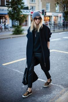 Camille Over The Rainbow, All Black, Leather Trousers, Leopard Loafers