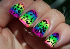 Amber did it!: Neon Rainbow Gradient Nails