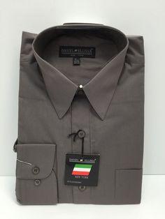 c7eea7da Daniel Ellissa Charcoal Dress Shirt Long Sleeve w/Pocket & Convertible Cuff  Mens