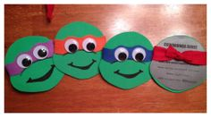 Cute Ninja Turtle invites I made for my sons birthday party... Cut out the face on foam paper, used felt for the mask, and googly eyes... Used markers for the mouth.
