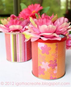 """repurposed container covered with pretty paper topped with a faux flower - follow link for blogger """"I Gotta Create"""""""