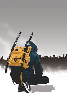 Black Steel - selected personal illustrations on Behance Urban Samurai, Samurai Art, Samurai Drawing, Samurai Anime, Character Concept, Character Art, Concept Art, Illustrations, Illustration Art